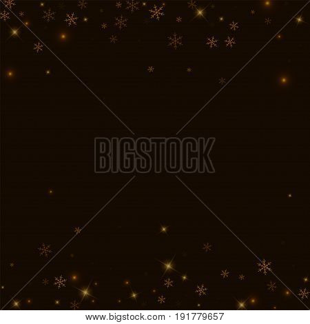 Sparse Starry Snow. Scattered Border On Black Background. Vector Illustration.
