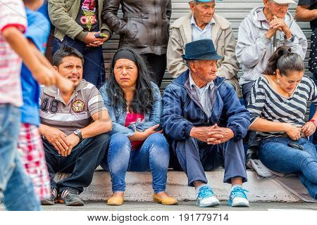 Banos De Agua Santa Ecuador - 29 November 2014: Group Of Unidentified Ecuadorian People Waiting To Begin Annual Carnival On The Streets Of Banos De Agua Santa South America On November 29 2014