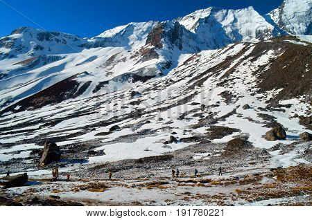 People in Annapurna Base Camp. Mountain Landscape in Himalaya, Nepal.
