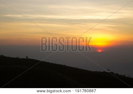 Sunrise at Prau Mountain, Mount Prau (sometimes spelled Mount Prau) (2590 mdpl) is located in Dieng Plateau, Central Java, Indonesia. Mount Prahu is located at coordinates 7 ° 11'13