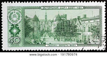 LUGA RUSSIA - APRIL 26 2017: A stamp printed by SOVIET UNION (RUSSIA) shows view of Viru Gate in Tallinn Estonia circa 1958