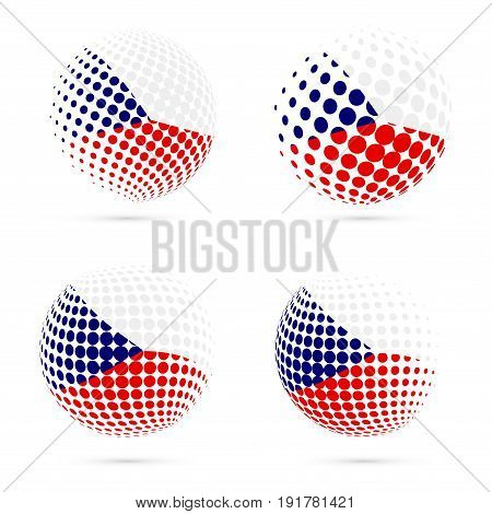 Czech Republic Halftone Flag Set Patriotic Vector Design. 3D Halftone Sphere In Czech Republic Natio