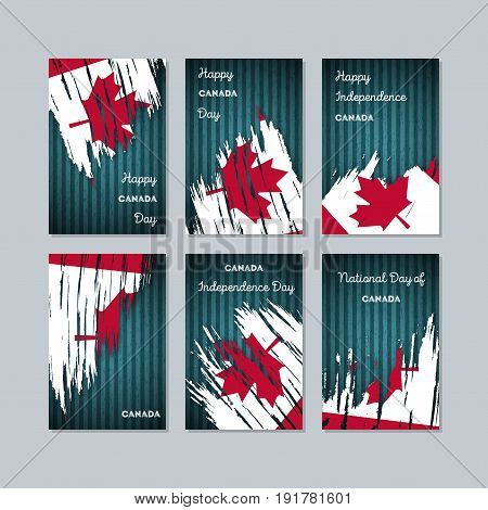 Canada Patriotic Cards For National Day. Expressive Brush Stroke In National Flag Colors On Dark Str