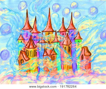 Christmas picture or illustration for fairy tales for children, painting watercolour, Fairy town.