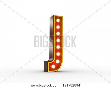 High quality 3D illustration of the letter J in vintage style with light bulbs illuminating it.
