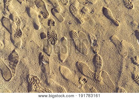 Close-Up Of Footprint On Sandshot in city of China.