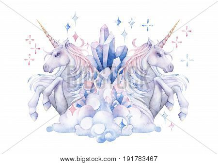 Cute watercolor unicorn in the sky. Mirror design. Hand drawn fantasy art in pastel colors isolated on white background