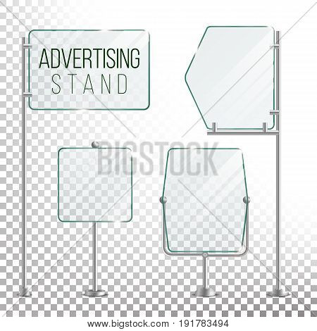 Glass Screen Banner Set Vector. Empty Advertising Display For Your Business. Vector
