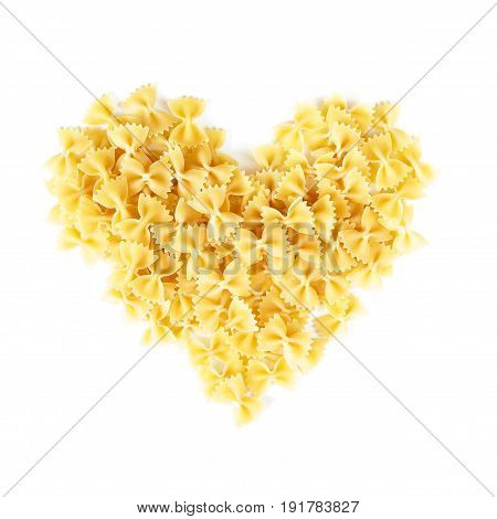 Heart Shape Heap Of Farfalle Or Bow Tie Pasta