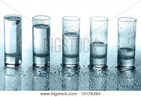 A row of glasses for vodka