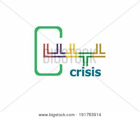 Crisis. Abstract Modern Signs For Banner, Poster Or Card Design
