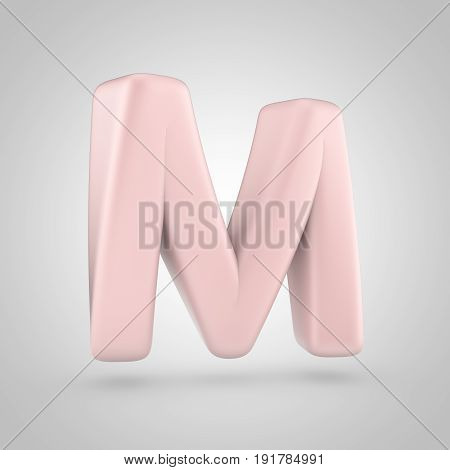 Millennium Pink Color Letter M Uppercase Isolated On White Background