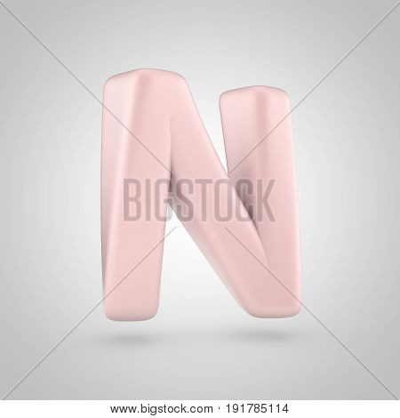 Millennium Pink Color Letter N Uppercase Isolated On White Background