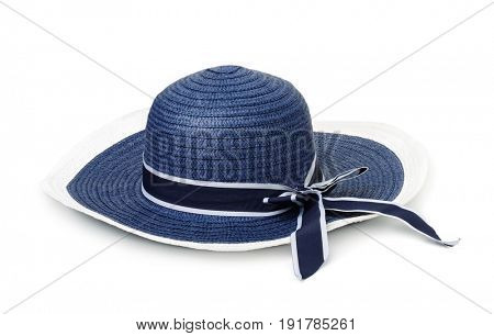 Blue straw summer hat isolated on white