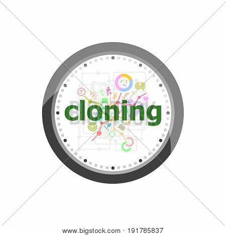 Text Cloning On Digital Background. Information Concept . Set Of Modern Flat Design Concept Icons Fo