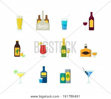 Cartoon Alcoholic Beverages Color Icons Set for Bar and Restaurant Flat Style Design. Vector illustration