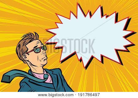 surprised man businessman Pop art retro vector illustration