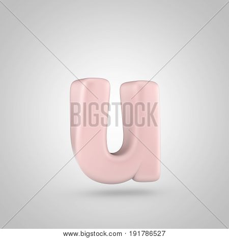 Millennium Pink Color Letter U Lowercase Isolated On White Background