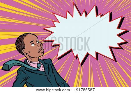surprised man businessman. African American people. Pop art retro vector illustration
