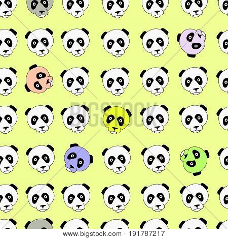 Color panda head china design vector illustration. Separate objects. Hand drawn doodle