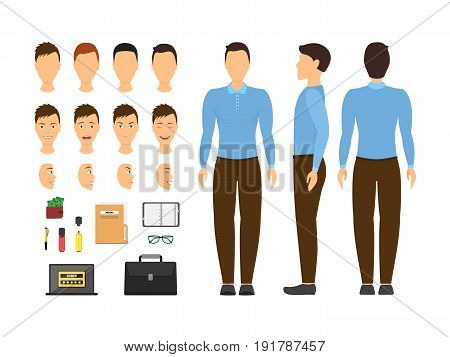 Cartoon Business Man and Constructor Element Part Set Face, Head or Body, Flat Style Design. Vector illustration
