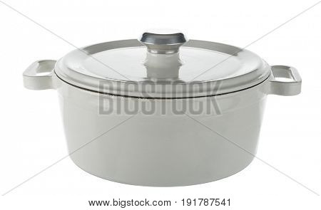 White cast iron cooking pot isolated on white background.