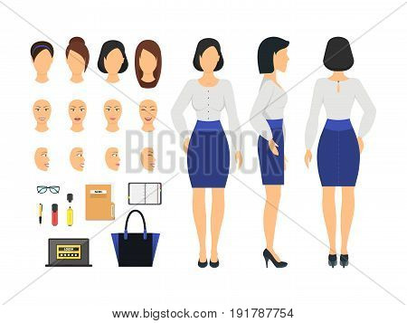 Cartoon Business Woman and Constructor Element Part Set Side, Back or Front View Flat Style Design. Vector illustration