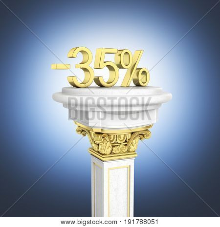 Gold Text 35 Percent Off Standing On The Pedestal Isolated On Dark Blue Gradient Background 3D Rende
