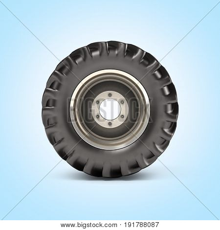 Off-road Wheel On Blue Gradient Background Side View 3D