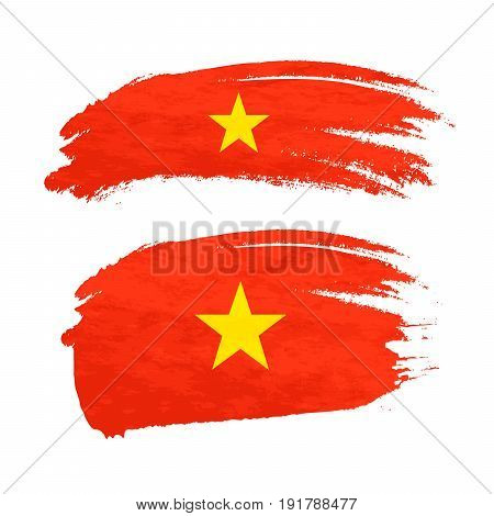 Grunge brush stroke with Vietnam national flag isolated on white
