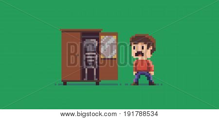 Pixel art skeleton in the cupboard and scared guy