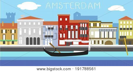 Amsterdam cityscape. Traditional Dutch landscape in simple style. Houses in the old European style. River channel and boat.