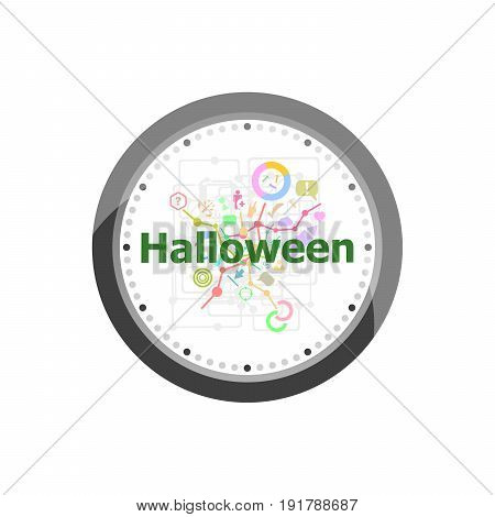 Text Halloween On Digital Background. Holiday Concept . Set Of Modern Flat Design Concept Icons For