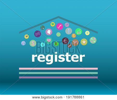 Text Register On Digital Background. Information Concept