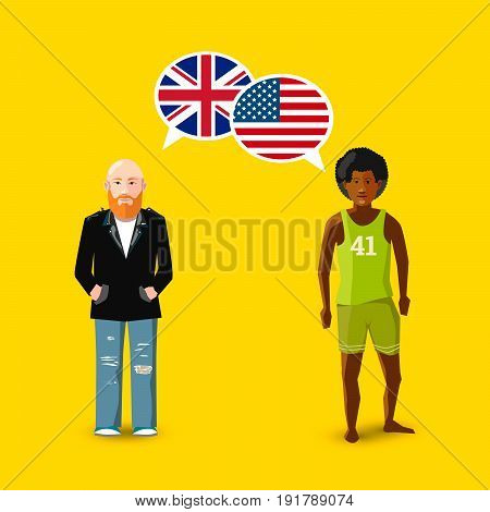 Two people with white speech bubbles with Great britain and USA flags. Language study conceptual illustration