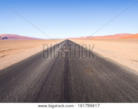 Road in the Namib-Naukluft National park in Namibia Africa.