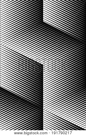 Vector op art pattern. Optical cube illusion abstract background.
