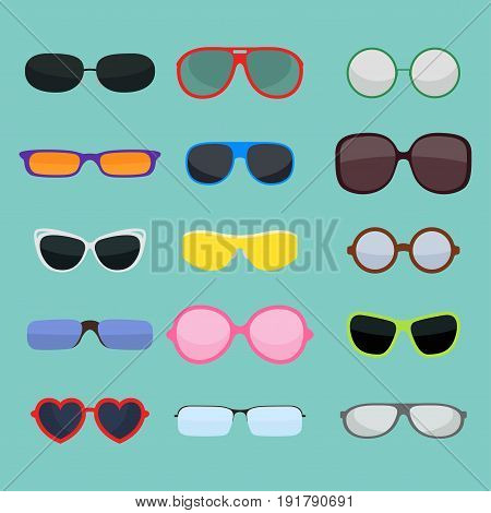 Fashion set sunglasses design retro accessory sun optical view object and spectacles vintage plastic frame modern eyeglasses vector illustration. Elegance summer sight shape classic reflection wear.