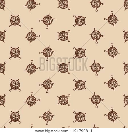 Sewing beige color pattern with tangle and spokes. Yarn ball and sewing needles vector illustration