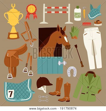 Flat color jockey icons set with equipment for horse riding isolated and horseshoe saddle sport race equestrian stallion barrier vector illustration. Champion gallop winner accessories.