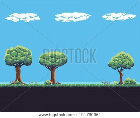 Pixel art game background with tree, ground, grass, sky and clouds