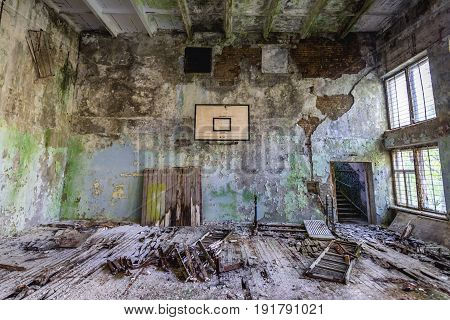 School gym in abandoned military town called Chernobyl-2 in Chernobyl Exclusion Zone Ukraine