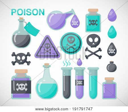 Poison vector flat icon set Flat design of danger toxic medical or magical symbols isolated on the white background vector illustration
