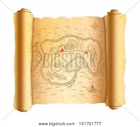 Realistic ancient pirate map of island on old textured scroll with red path to treasure