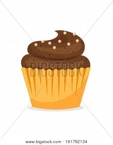 Chocolate cupcake icon on white background. Vector tasty muffin illustration