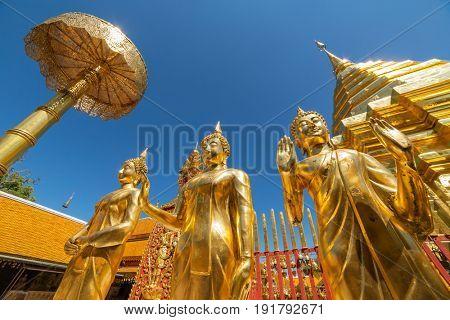 Golden chedi (stupa) and umbrella in Wat Phra That Doi Suthep temple, Chiang Mai, Thailand