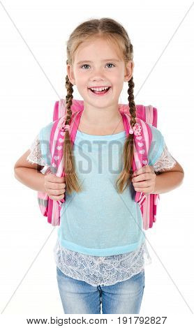 Portrait of happy smiling school girl child with school bag isolated on a white background education concept