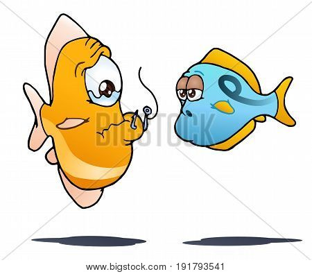 illustration of a fish hurt by fishing hook on isolated white background