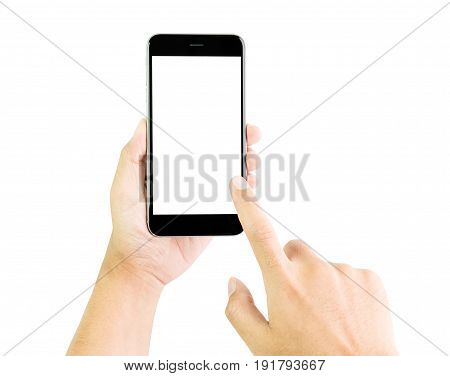 Hand holding smartphone blank screen clipping path inside