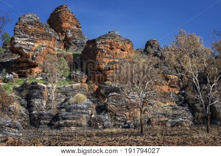 Rock Formation after Bushfire at the Outback - Western Australia